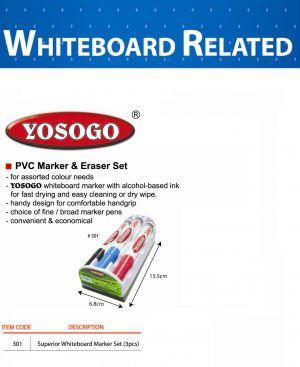 YOSOGO Гъба за бяла дъска с 3 маркера